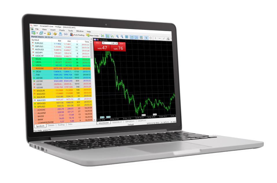 MT5 software on laptop